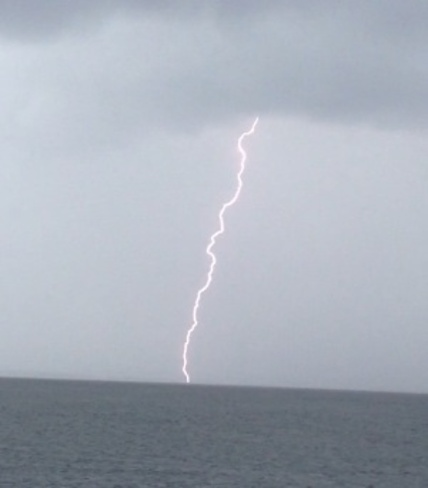 Lightning over water