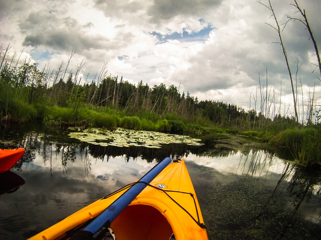 Kayaking on Lake Blue Sea Messines, Quebec Canada