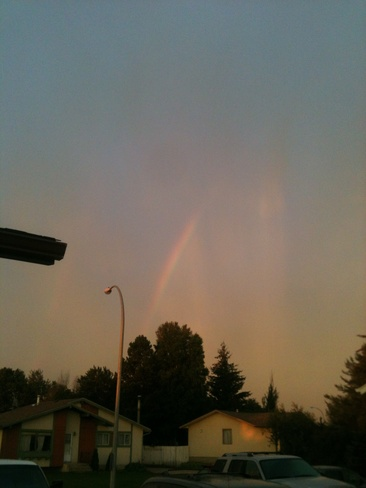 rainbow and rainstreaks Slave Lake, Alberta Canada