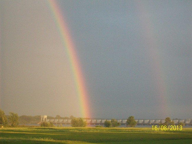 Rainbow over the dam Iroquois, Ontario Canada