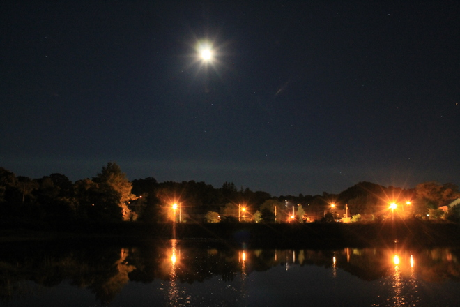 Wolfville Moonlight at Harbour Wolfville, Nova Scotia Canada