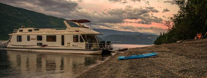 Relaxing houseboat beach scene Sicamous, British Columbia Canada
