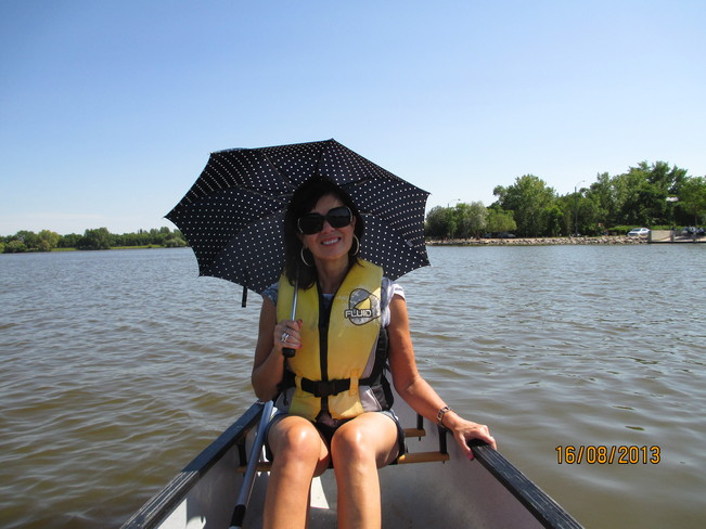 My sisters idea of rowing on Wascana Lake Regina, Saskatchewan Canada