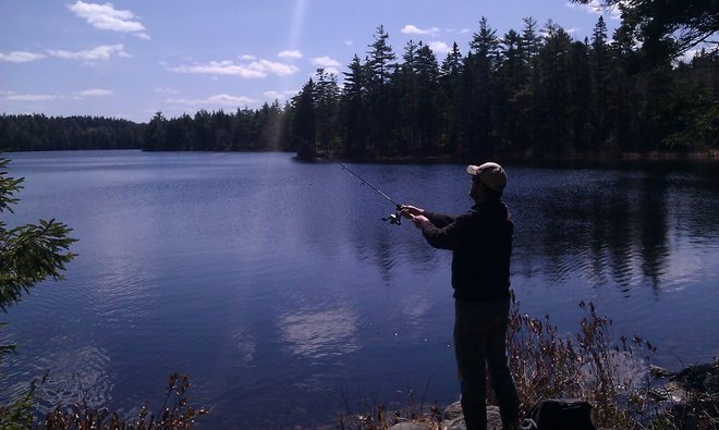 Fishing at Sabody Pond Chester, Nova Scotia Canada