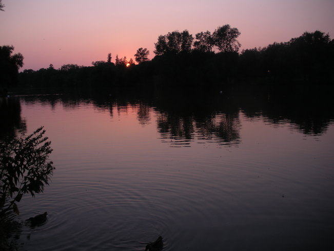 Evening sunset over water Stratford, Ontario Canada