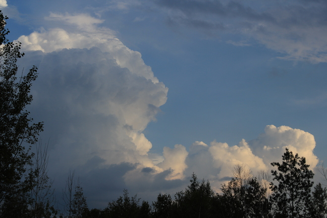 Booming Clouds with Severe Thunderstorm Warning Burton, New Brunswick Canada