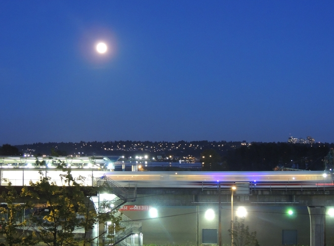 Blue Moon Skytrain New Westminster, British Columbia Canada