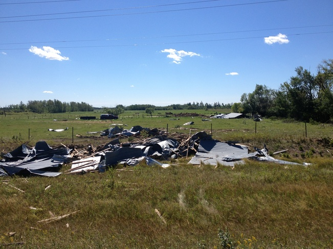 last night storm damage Beausejour, Manitoba Canada