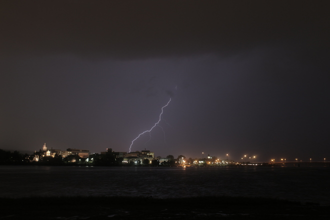 Lightning over downtown Fredericton, New Brunswick Canada