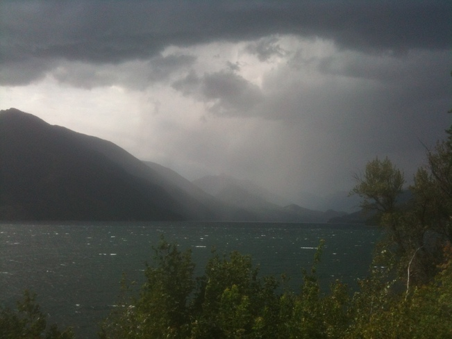 Storm cell over Slocan Lake New Denver, British Columbia Canada