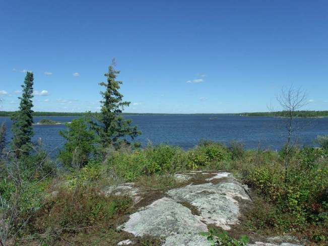 View of Eleanor Lake from top of island Pinawa, Manitoba Canada