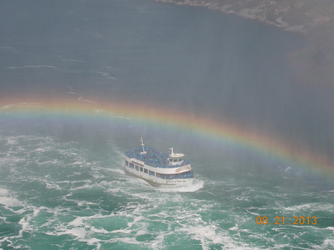 A Rainbow above the Maid of the Mist boat. Niagara Falls, Ontario Canada