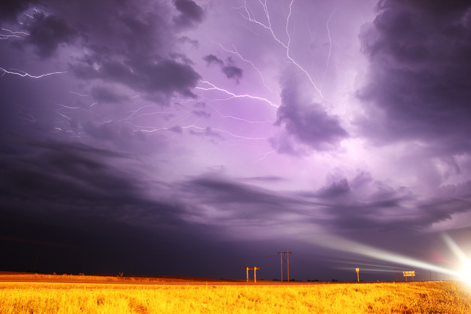 Crazy Lightning over Yorkton Yorkton, Saskatchewan Canada