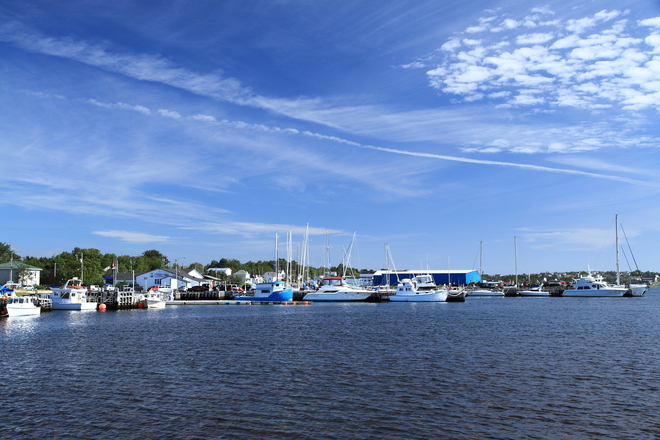 Yachts anchored at Canadian Legion marina. Bay Roberts, Newfoundland and Labrador Canada