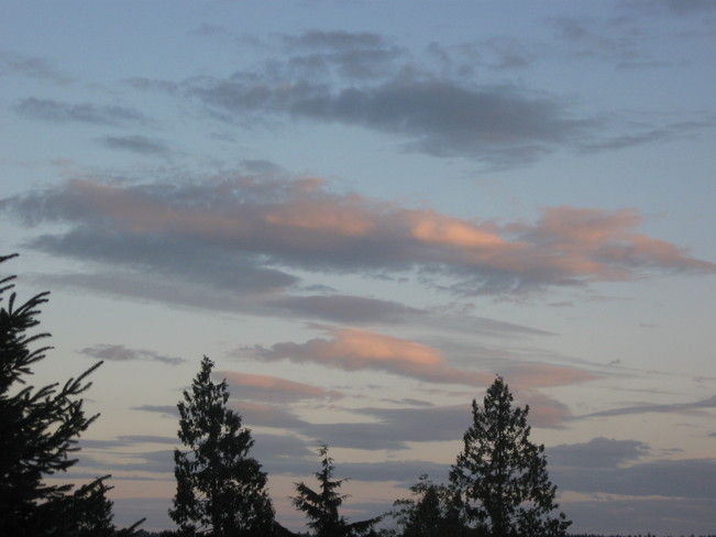 pink clouds Surrey, British Columbia Canada