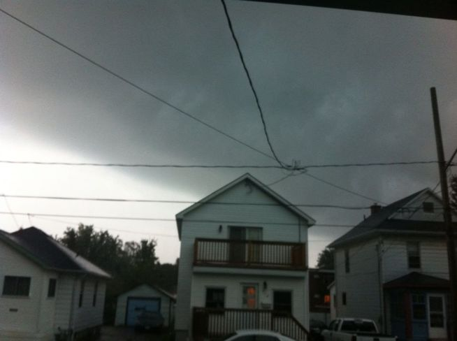 possible funnel clould Cornwall, Ontario Canada