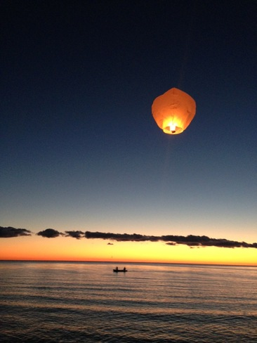 Flying Lantern Over The Lake St. Laurent, Manitoba Canada