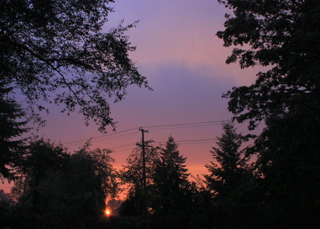 sunset in the rain Surrey, British Columbia Canada