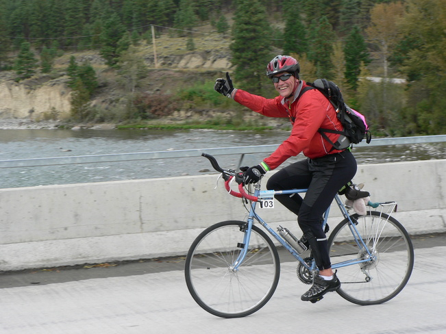 KOOTENAY ROCKIES GRAN FONDO - Happy Rider Crosses Prairie Bridge Cranbrook, British Columbia Canada