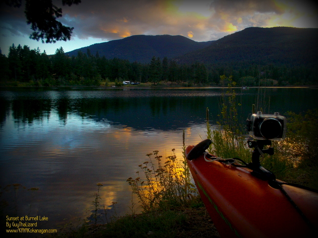 Burnell Lake Kayaking Sunset Penticton, British Columbia Canada