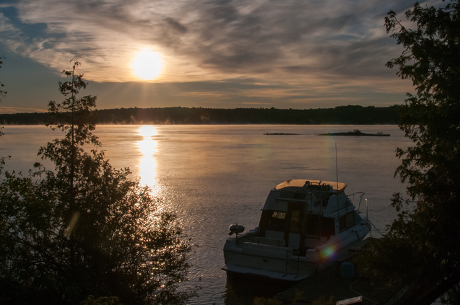 Morning sun on the river Brockville, Ontario Canada