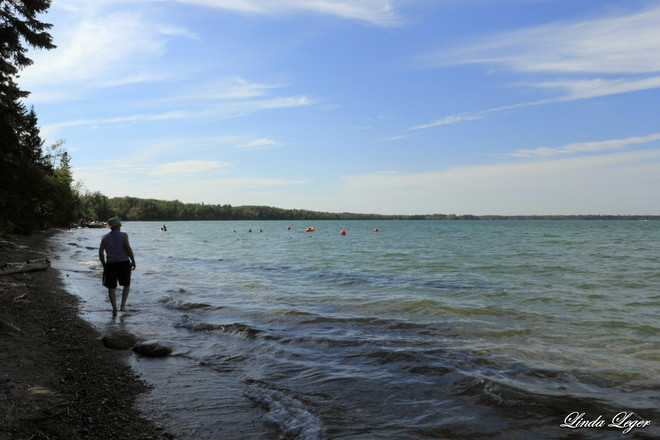 Walking The Beach Wasagaming, Manitoba Canada