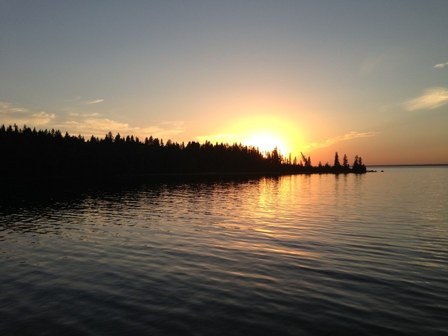 sunset on clear lake Wasagaming, Manitoba Canada