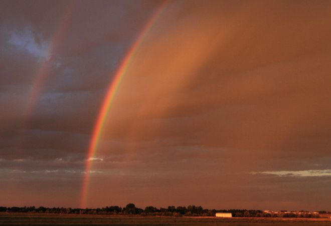 morning rainbow Brooks, Alberta Canada