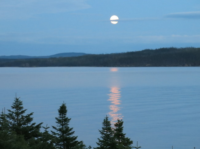 Harvest Moon reflected in Red Indian Lake Buchans, Newfoundland and Labrador Canada