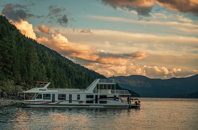 Sunset on the houseboat Sicamous, British Columbia Canada