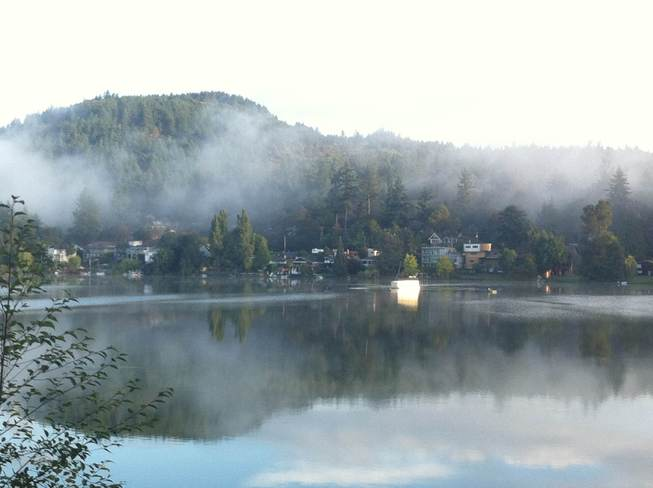 The early fog lifting Langford, British Columbia Canada