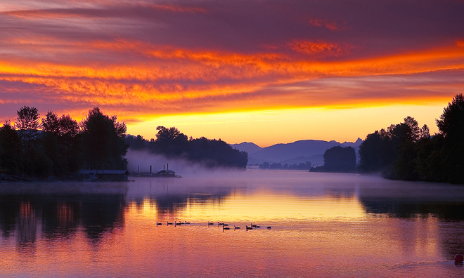 red sky in the morning sailor take warning Fort Langley, British Columbia Canada