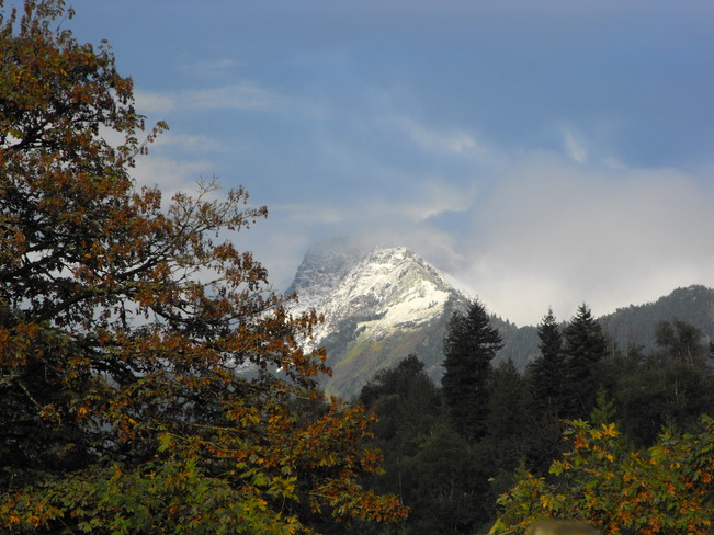 first snow on mt cheam
