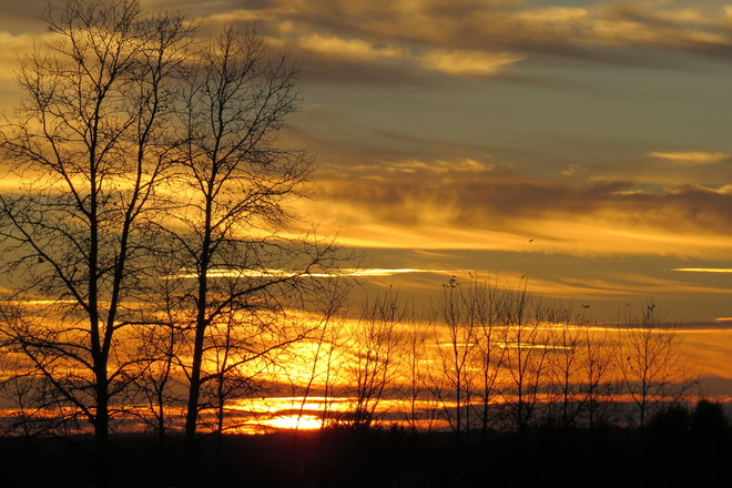 Red & yellow sunset Timmins, Ontario Canada