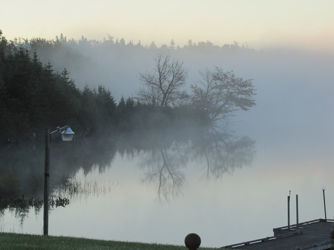 Fog On The Lake Sherbrooke, Nova Scotia Canada