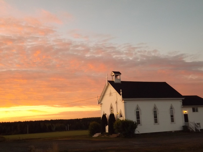 sunrise over the Canaan church New Minas, Nova Scotia Canada