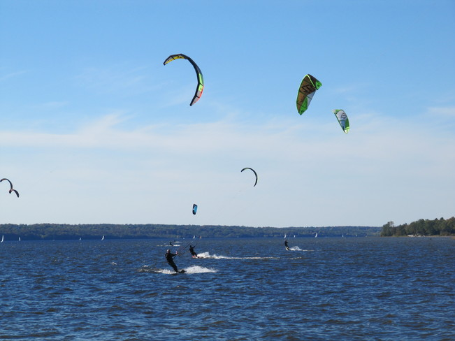 Kite skiing on the Ottawa River, Aylmer Que Ottawa, Ontario Canada
