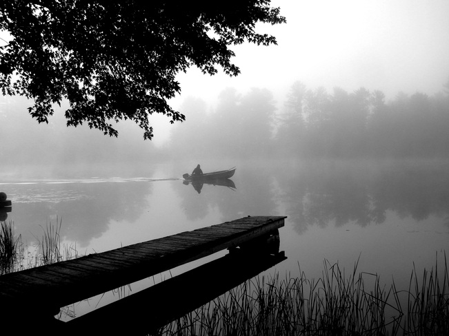 Mist rising on river Killaloe, Ontario Canada