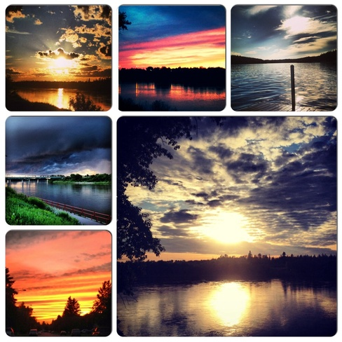 Collage of Sunsets Prince Albert, Saskatchewan Canada