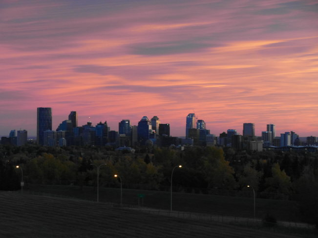 sunset over the city. Calgary, Alberta Canada