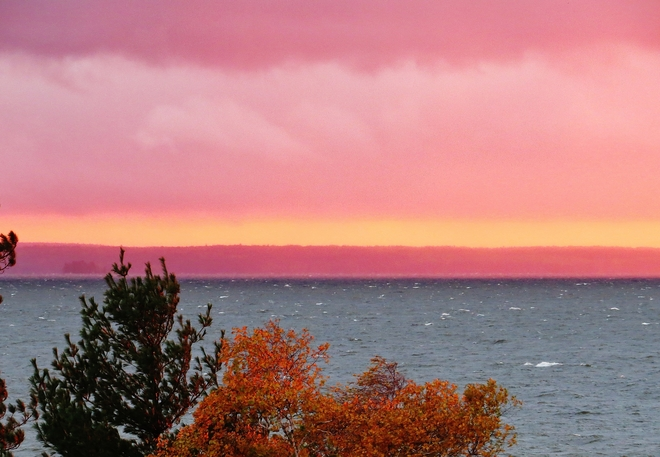 Pink rain falls on Champlain Park. North Bay, Ontario Canada