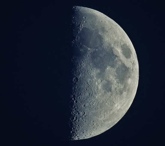 First quarter moon after a great day of weather. North Bay, Ontario Canada