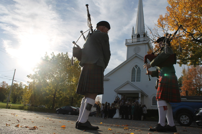 Fall Wedding Day with the Pipes Hantsport, Nova Scotia Canada