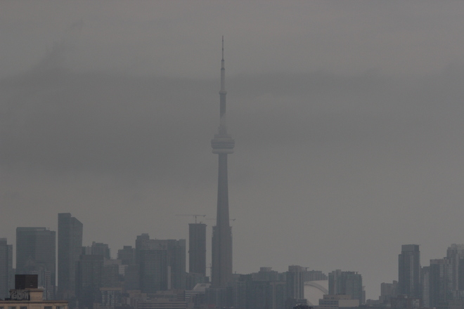 Toronto CN Tower on a very misty September Day Toronto, Ontario Canada
