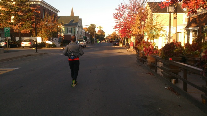Main Street before the Valley Harvest Marathon Wolfville, Nova Scotia Canada