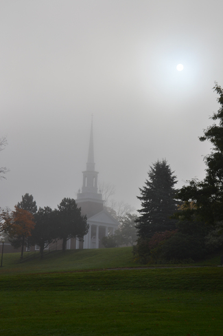 Foggy morning on campus Wolfville, Nova Scotia Canada