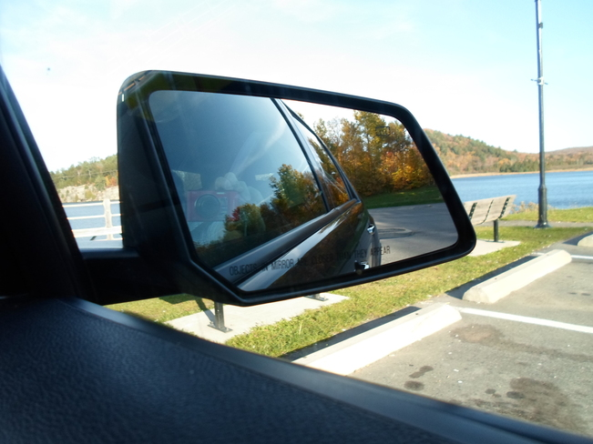 In Mirror Fall Colours, forward lake Elliot Lake, Ontario Canada