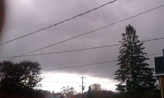 black storm clouds moveing in Owen Sound, Ontario Canada