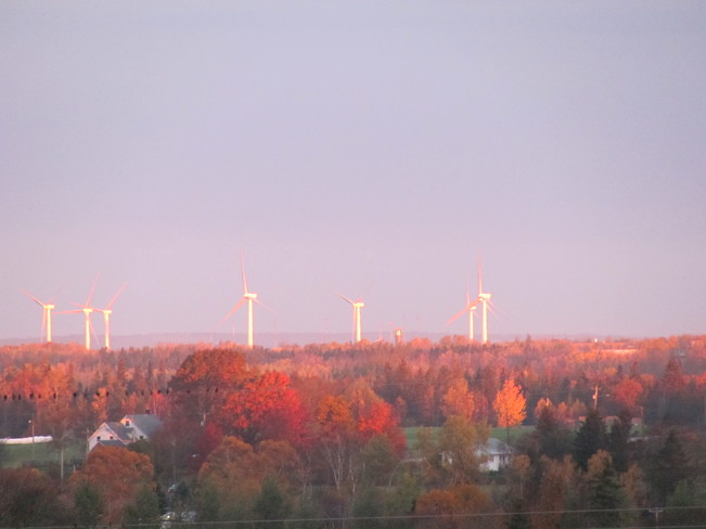 Wind Turbines at Sunrise Amherst, Nova Scotia Canada