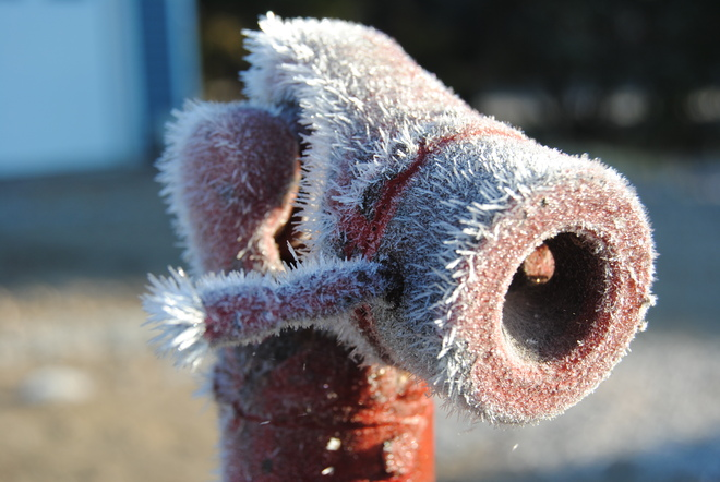 Frost on a metal pipe Reward, Saskatchewan Canada